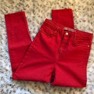 Zara trafaluc premium wash red jeans high waisted